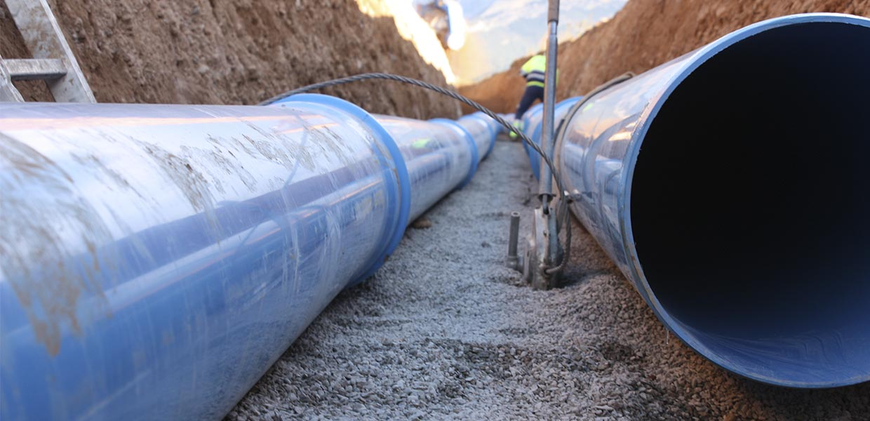 Blue PVC water pipes underground